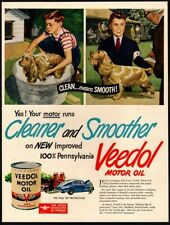 1947 VEEDOL Motor Oil - Best Friend Bathing His Cute Puppy Dog VINTAGE AD