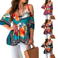 Charm Women Floral T-shirt Holiday Casual Blouse Ladies Off Shoulder V-Neck Tops
