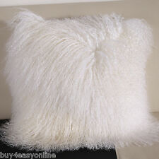 "Handmade Mongolian Fur 22""x22"" Square White Pillow Cushion Case & fabric back"