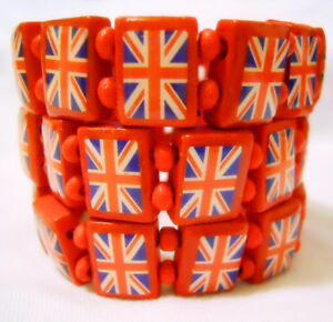 UK British Flag Union Jack  Elastic Stretch Wooden Bracelet GIFT PARTY 6 Colours