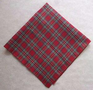 Vintage Handkerchief MENS Hankie Top Pocket Square RED TARTAN
