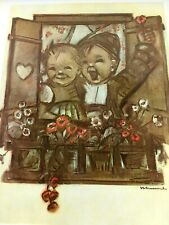 GOEBEL HUMMEL Boy Girl Singing Window Art Print Collector's Club Maria