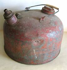 Old Galvanized Metal Fuel Gas Can Petroliana Vintage Oil Plastic Handle FREE SH