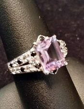 Large Pink Amethyst White Topaz Black Spinel 925 Silver Ring Size 6 Solitaire