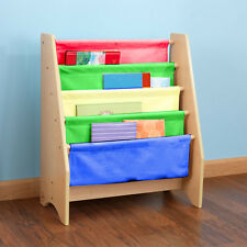 Wooden Kids Childrens Book Shelf Sling Storage Rack Organizer Bookcase Bookshelf