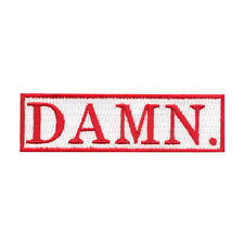 """DAMN"" Motif Iron On Embroidered Applique Patch"
