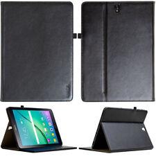 Echt Leder Cover Samsung Galaxy Tab S3 Tablet Schutzhülle Tasche schwarz + Folie