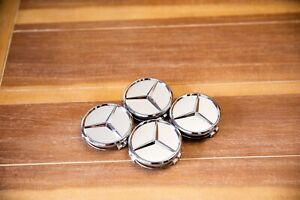 NEW SET OF 4 CENTER WHEEL HUB CAPS FOR MERCEDES-BENZ MATTE SILVER 75MM / 3 IN