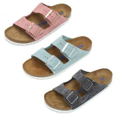 Birkenstock Arizona Leather Rose & Light Blue & Stone Strap SFB Sandals Shoes