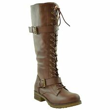 Womens Faux Leather Lace Up Combat Knee High Boots w/ Buckle Straps Brown