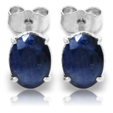 2 Carat 14K Solid White Gold Stud Earrings Oval Natural Blue Sapphire