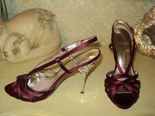 PARIS HILTON SATIN MAGENTA SANDALS STILETTO SPARKLING HEELS*EU 39 *US 8M *UK 6