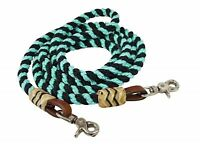 Showman 8' TEAL Braided Nylon Barrel Reins W/ Rawhide Accents! NEW HORSE TACK!
