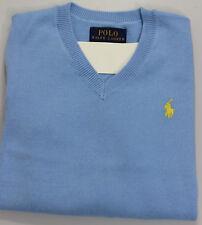 Polo Ralph Lauren V Neck Boys Sweater 3/3T Light Blue Yellow Pony Cotton