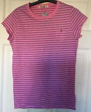 Ladies Pink and Black Striped River Island T-shirt Size 14 New