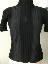 IRIE' WOOL RIBBED SHORT SLEEVE ZIP NECK SWEATER/JUMPER SIZE L WORN ONCE!