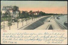 Postkarte Köln Kaiser Friedrich-Ufer mit Straßenbahn, litho gelaufen, 1902