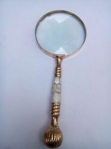 Vintage Style Brass & Mother Of Pearl Magnifying Glass Magnifier