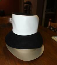 Vintage Ladies Mr John Tall Hat With Long Black White Leather Velvet