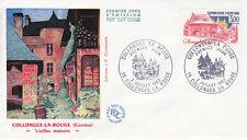 Enveloppe 1er Jour COLLONGES LA ROUGE 03/07/1982 vieilles maisons éd courbevoie