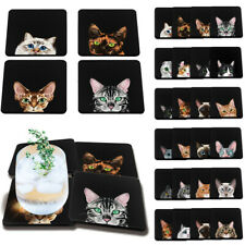 Set of 4 Cat Design Absorbent Fabric Felt Neoprene Square Coasters Coffee Cup