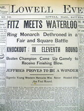 1899 newspaper JAMES JEFFRIES DEFEATS BOB FITZSIMMONS Championship Match BOXING
