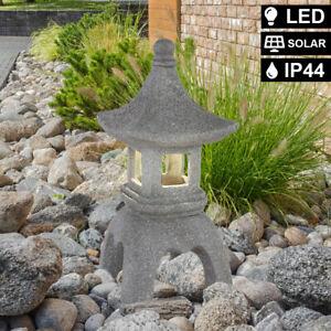 LED Solar Außen Stand Leuchte Pagode Asia Design Garten Deko Steh Lampe grau
