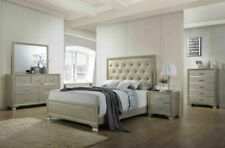 Kings Brand Furniture - Champagne Wood with Faux Leather King Size Bedroom Set