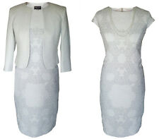 MOTHER OF THE BRIDE GROOM OUTFIT JACKET DRESS 2 PIECE SIZE 14 PALE SILVER GREY
