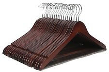 Solid Wooden Suit Hangers Walnut Finish with Polished Chrome Hooks - 20 Pack