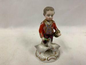 """Antique Hochst Porcelain Figurine Boy Feeding Geese H3"""""""