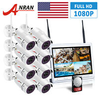 """ANRAN 1080P HD 8PCS Security Camera System Outdoor Wireless 8CH 12""""LCD CCTV 1TB"""