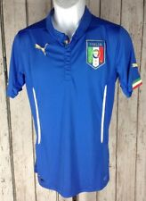 Puma~M~Italia Football Italy Soccer Jersey FIGC Blue Dry Cell Button Collar