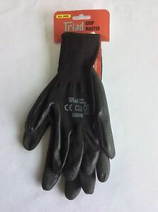 2 pairs builders latex coated gloves work safety, Large, Free Post!