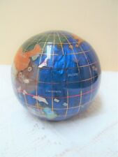 "Vintage Art Glass World Globe Cobalt Blue Ocean Mother of Pearl 3"" Paperweight"