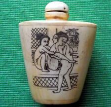 Old Erotic Japanese Scrimshaw Netsuke Bovine Bone Kama Sutra Sex Snuff Bottle E