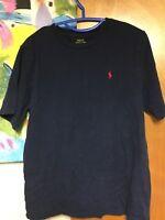 POLO RALPH LAUREN T-shirt Blue Men's XL Red Pony 100% Cotton Short Sleeve EUC