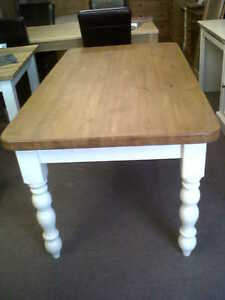 solid pine cream/white farmhouse dining table/farrow and ball/made to measure