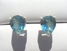 Blau Topas Swiss Blue facett. Ohrstecker 9,5x7,5 mm 925 Silber E7058