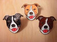 Staffie pin badge. Staffordshire Bull terrier. Dark brown - Black - Light Brown