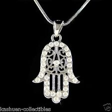 Hamsa Hand made with Swarovski Crystal Jewish Hamesh Fatima Charm Chain Necklace