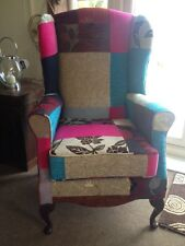 VINTAGE STYLE PATCH WORK HIGH BACK WINGED CHAIR - SHABBY CHIC