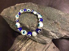 Turkish Evil Eye Bracelet Blue & White  Glass Bead w/Crystals