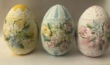 Hand Painted Easter Eggs Wood Roses Hydrangeas Shabby Lace Cottage Chic HP