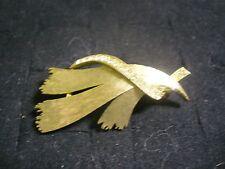 JJ Jonette Brushed Goldtone Metal Clear Crystal Modernist Ribbon Brooch Pin
