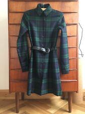 women's Black Watch green blue black tartan shirt dress Small 6uk 34 pure wool