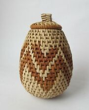 "Traditional Handwoven African Zulu Ukhamba Basket Zig Zag Design 5 1/2"" Tall"