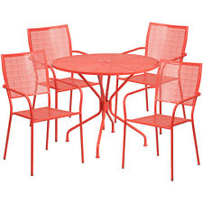 35.25'Round Coral Indoor-Outdoor Patio Resturant Table Set w/4 Square Back Chair