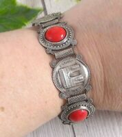 Vintage French Silver Plated Bracelet with Red Cabochons Paris