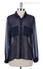 Womens Chiffon Sheer See Through Formal Button Down Mesh Shirt Blouse Top